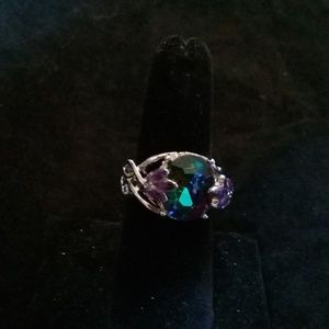 Silver rainbow stone ring with purple flowers 7